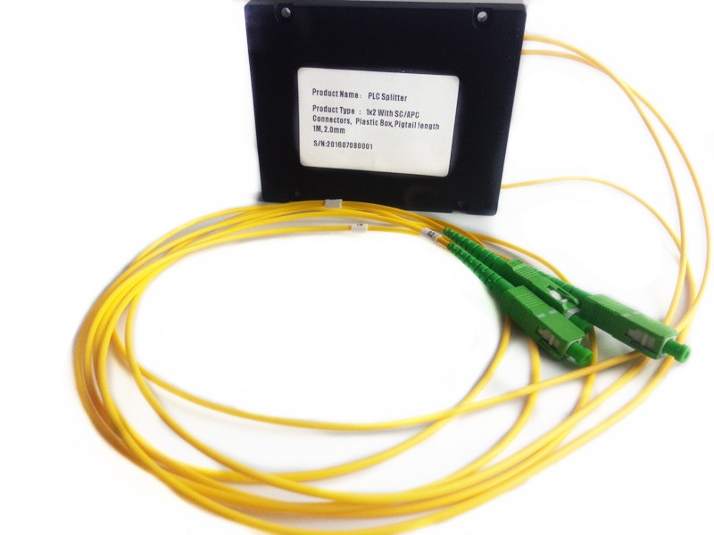Plastic box  1x2 PLC splitter, with SC/APC connector