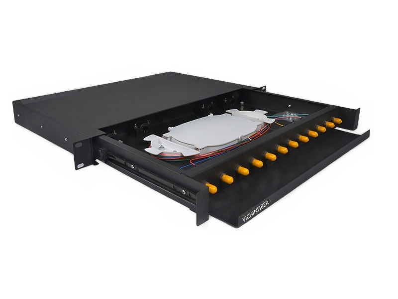 Protruding type 19 inch 1U rack mounted ST 12 port optical patch panel