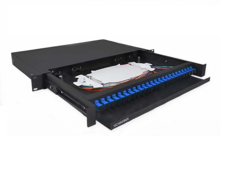 Protruding type 19 inch 1U rack mounted SC/UPC 24 port optical patch panel
