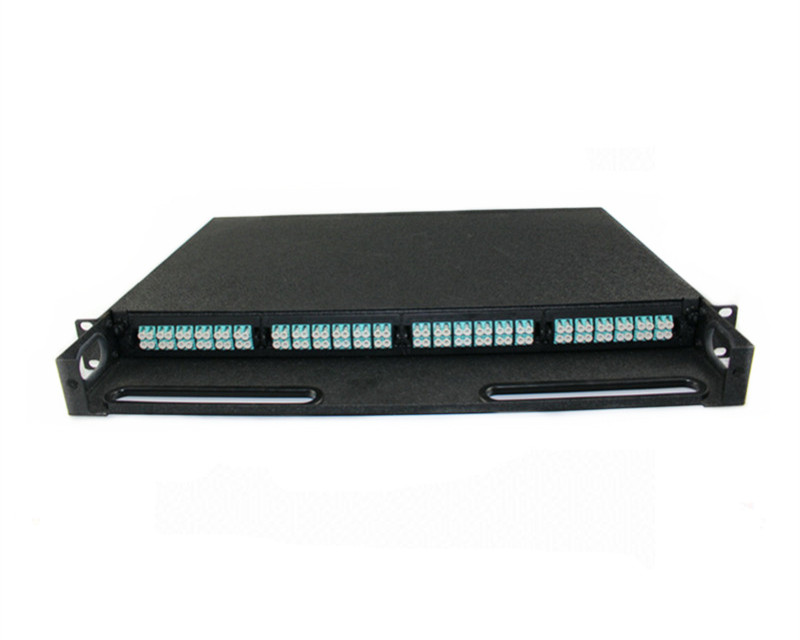 19 inch 1U OM3 96 port LC to MPO fiber optic patch panel