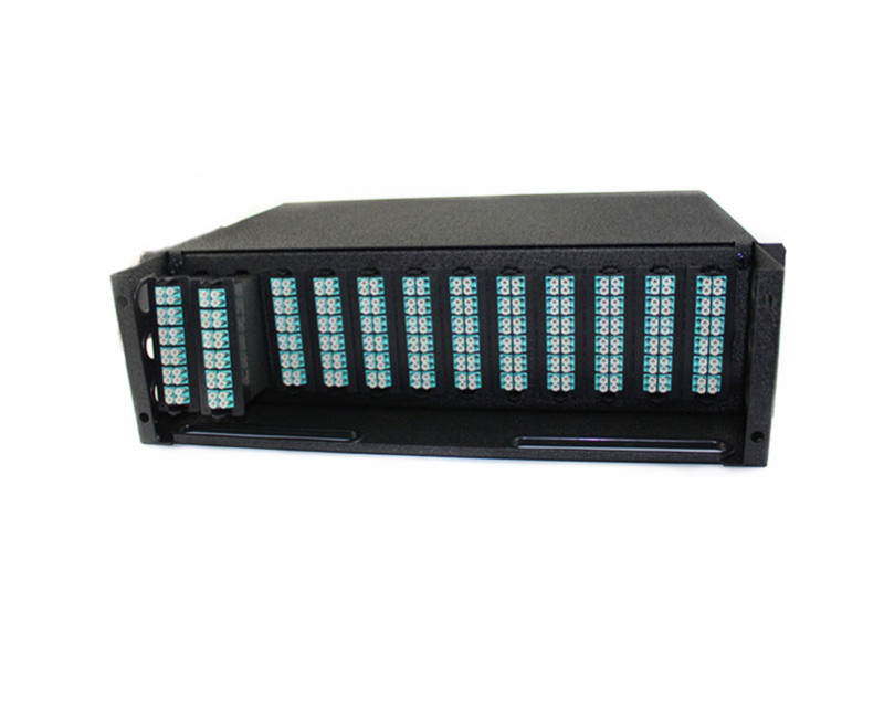 19 inch 3U OM3 288 port LC to MPO fiber optic patch panel