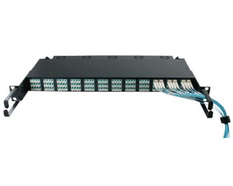 19 inch 1U OM3 144 port LC to MPO fiber optic patch panel